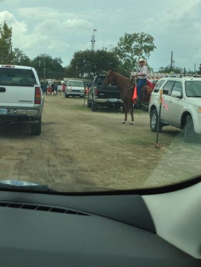 De parkeerwachter te paard...