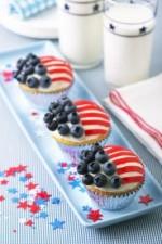 Cupcakes in de vorm van de Amerikaanse vlag...