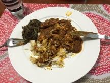 Moambe: rijst, spinazie en kip in palmnotenolie!