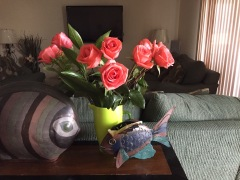 Verse bloemen in het huurhuisje...